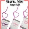 Silly Straw Valentine Printable