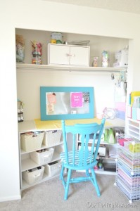 craft room in a closet