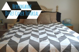 {Sewing Tutorial} Herringbone Duvet Cover