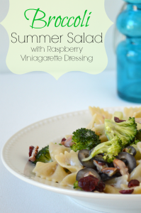 Broccoli Summer Salad Recipe - All fresh Veggies, sauce made with Raspberry Vinaigrette, Greek Yogurt & Xylitol sweetener. ourthriftyideas.com