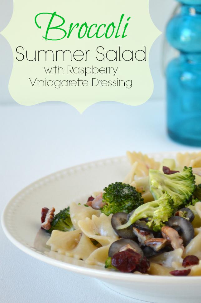 Broccoli Summer Salad Recipe - All fresh Veggies, sauce made with Raspberry Vinaigrette, Greek Yogurt & Xylitol sweetener. ourthriftyideas.com
