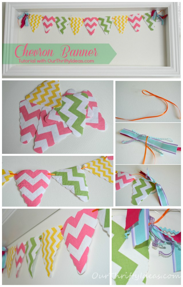 Chevron fabric banner tutorial from OurThriftyIdeas.com