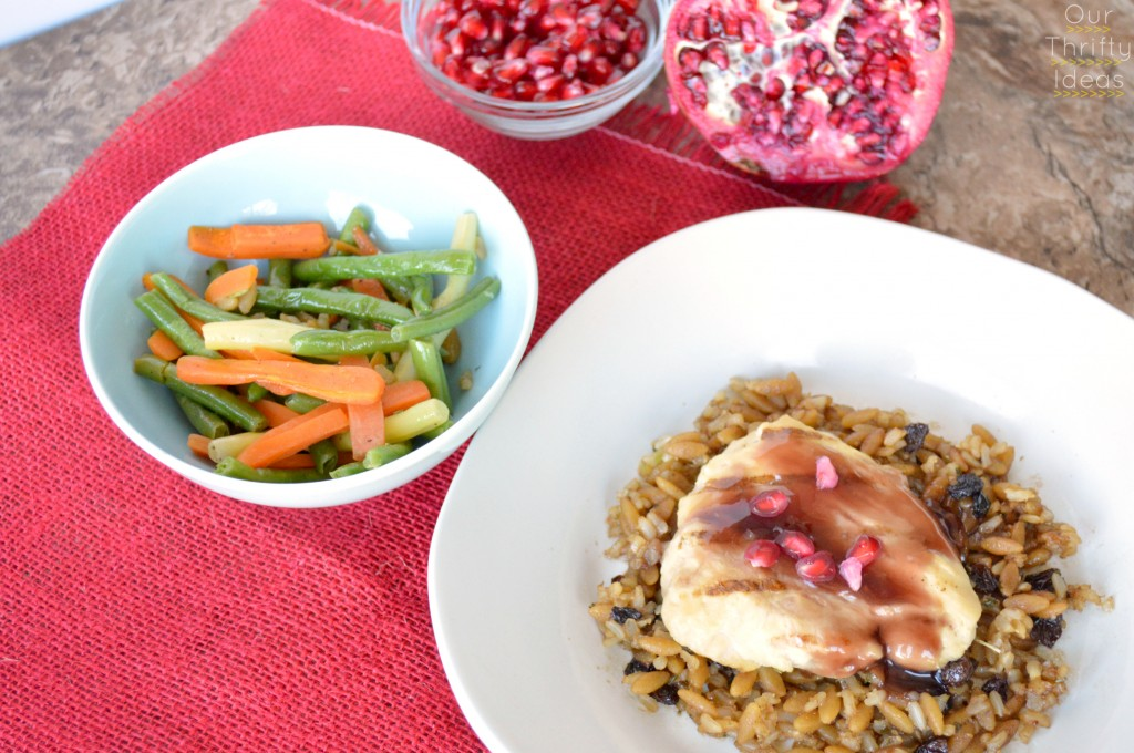 Pomegranate Chicken over whole grain pilaf #honestlygood