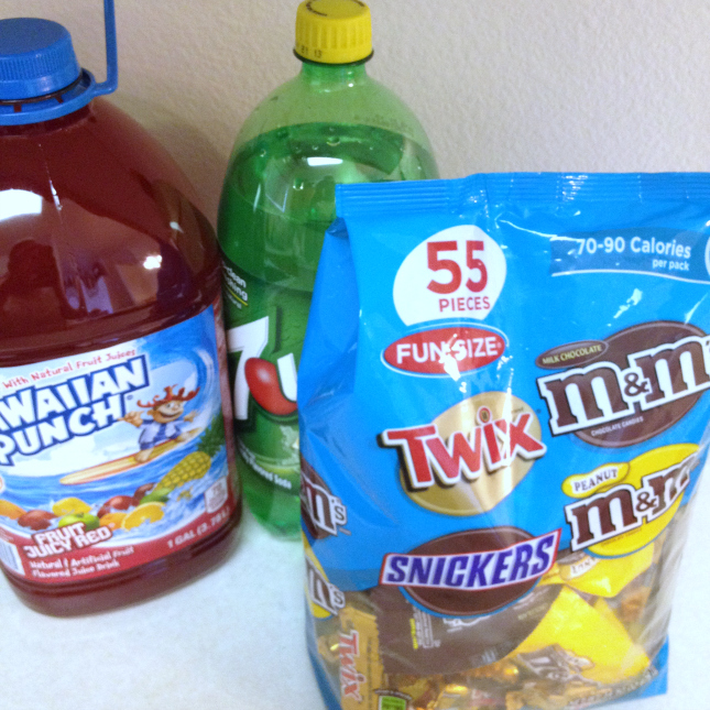 Snickers, Hawaiian Punch and 7-up