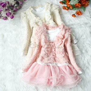 Toddler lace and tutu holiday dress in dusty pink and cream