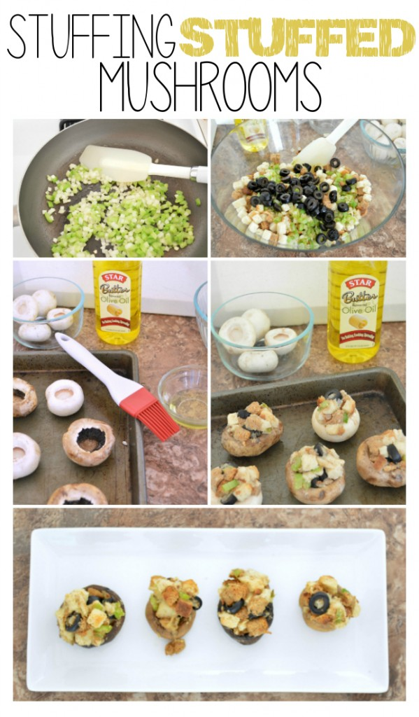 how to make stuffing filled mushrooms from homemade stuffing. This is a perfect appetizer for the holidays and a different way to serve your traditional stuffing | www.ourthriftyideas.com #Recipe #holidays #appetizer