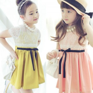 lace party dress in pink or yellow