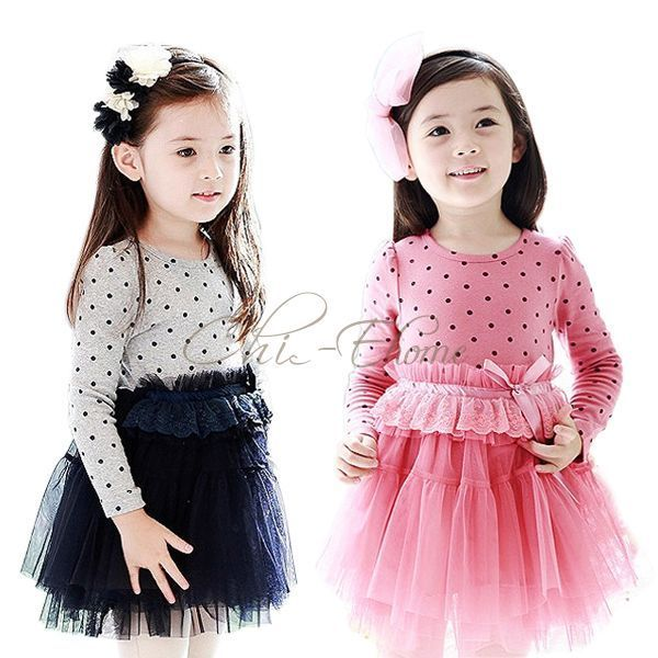 pink and black polka dot and tulle toddler party dress