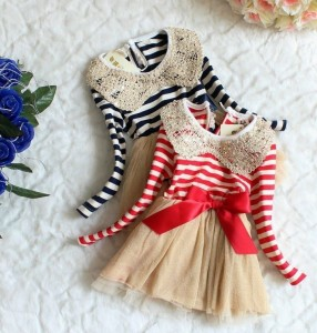 stripped party dress with peter pan collar