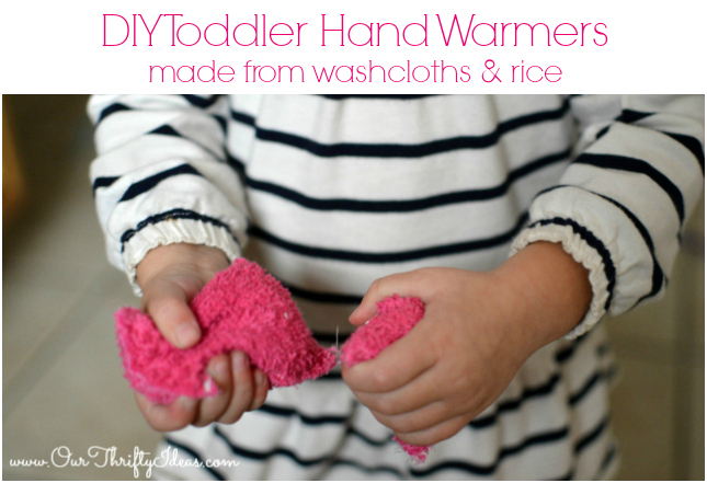DIY toddler hand warmers made from washcloths and rice