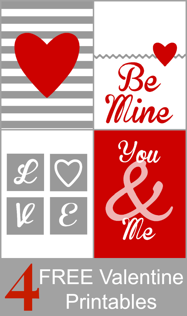 4 coordinating valentine printable art pieces from OurThriftyIdeas   www.ourthriftyideas.com #valentine #printable #free