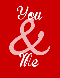 You & Me free Vday printable from OurThriftyIdeas.com #Valentine #printable #free