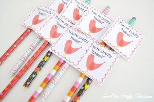 free printable valentine - your pretty tweet - bird - pencil topper