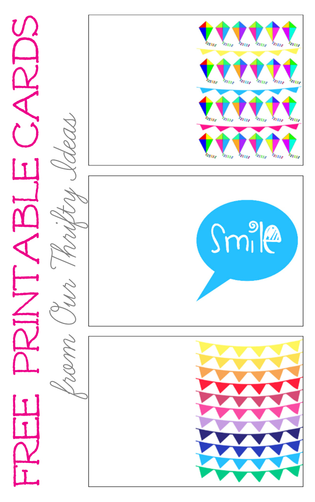 "The cutest free printables. Print a kite, banner and ""smile"" greeting card to give this spring/summer."