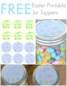 Hoppy Easter free printable jar toppers from OurThriftyIdeas.com