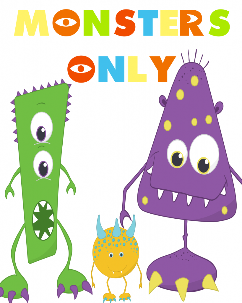 MONSTERS ONLY - printable party pack - Our Thrifty Ideas