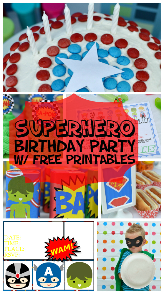 superhero birthday party with a free printable pack