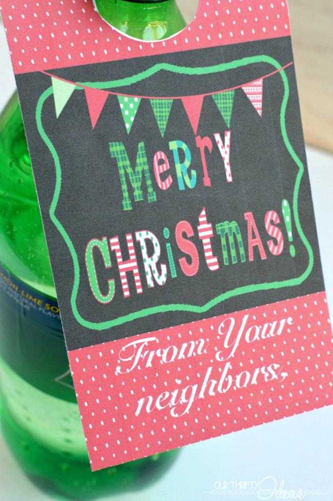 Printable christmas soda tags neighbor gift blog hop for Christmas gifts for neighbors homemade