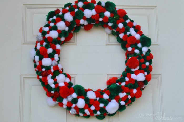 Pom Pom Christmas Wreath
