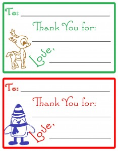 Teach your kids to be thankful this holiday season by having them send these Thank-You cards for the gifts they are given.