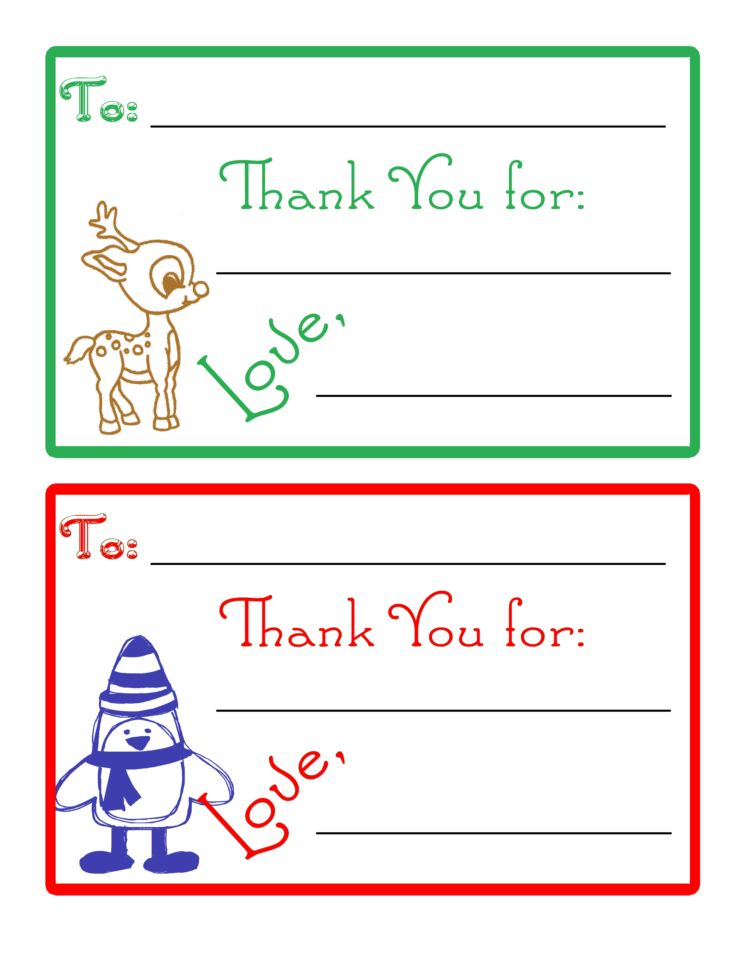 Children\'s Christmas Thank You Cards - Our Thrifty Ideas