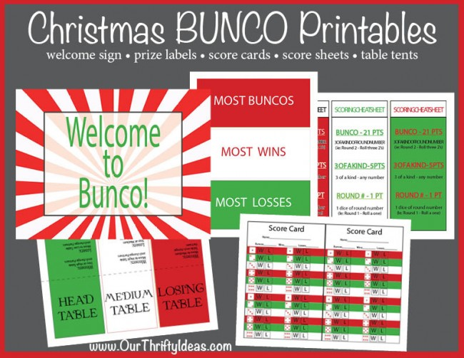 Christmas bunco printable kit our thrifty ideas for Free bunco scorecard template