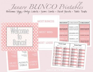Free printable BUNCO pack for Valentines Day
