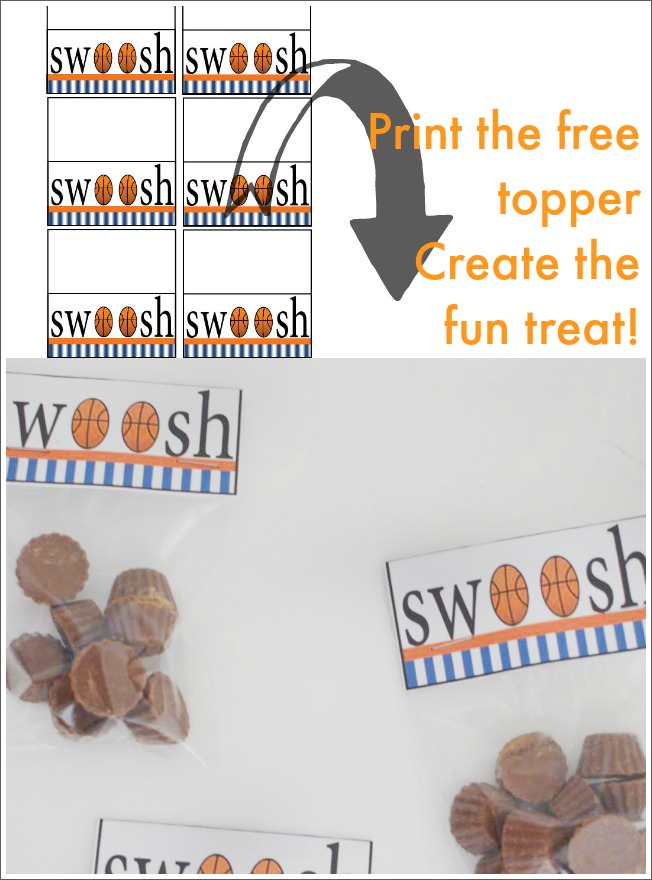 A fun Basketball treat-bag topper. Grab this free printable for your kids' game day treat or for your next party