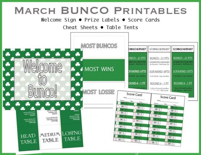March Shamrock BUNCO printable pack