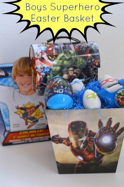 Marvel superhero boys easter basket our thrifty ideas superhero boys easter basket negle Images