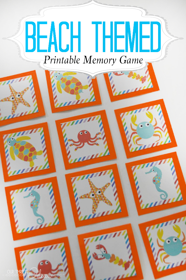 Beach Themed Printable Memory Game