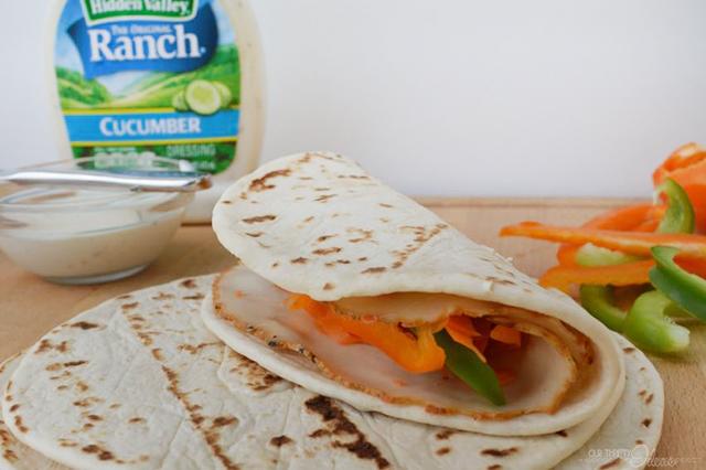 Summer flatbread sandwich with Hidden Valley