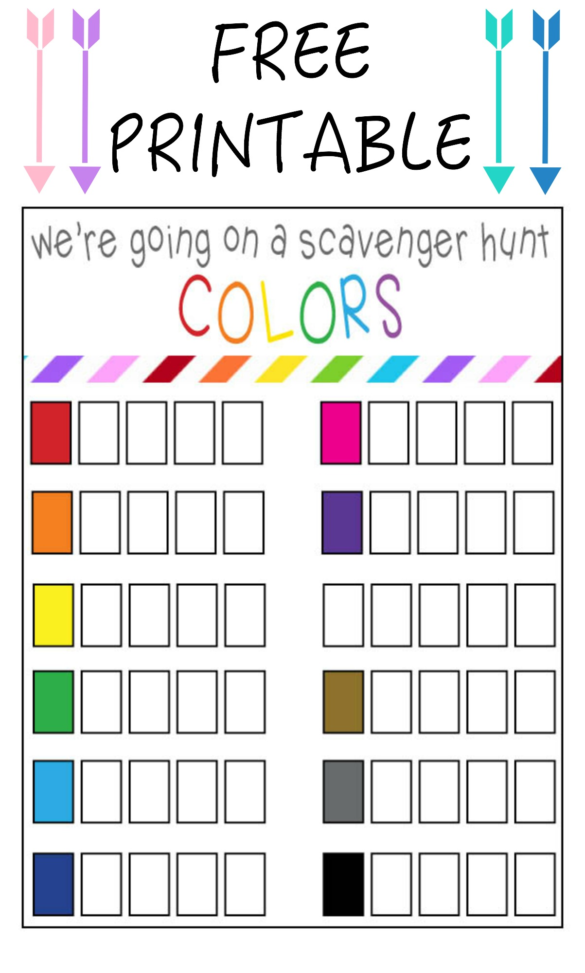 Color Scavenger Hunt Free Printable Our Thrifty Ideas