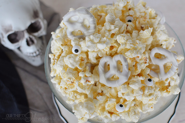 white chocolate skeleton popcorn