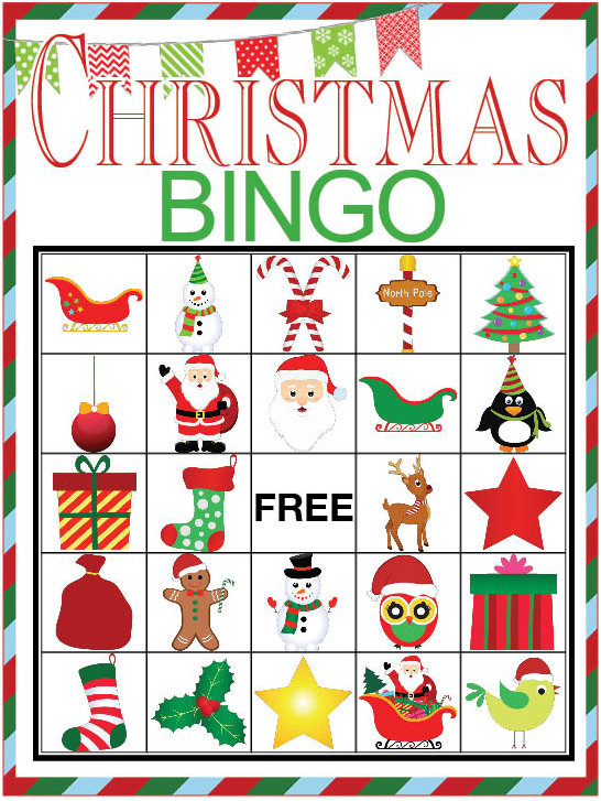 Bright image intended for christmas bingo card printable