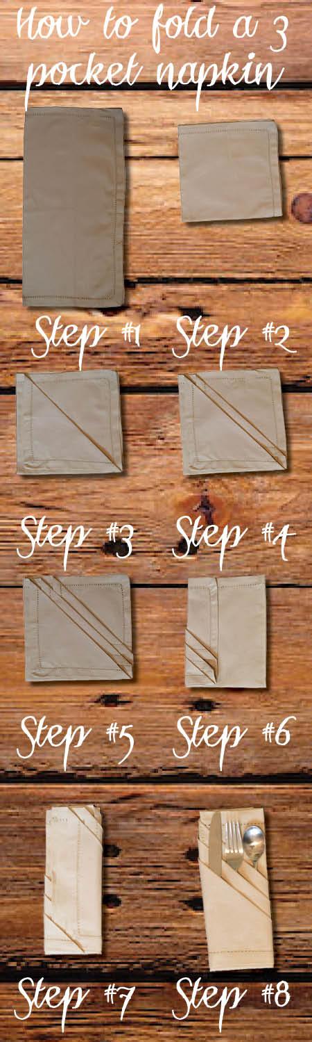 Paso a paso tutorial sobre cómo doblar una servilleta 3 bolsillo. Esto hará que su cuadro de vacaciones se ve tan elegante.