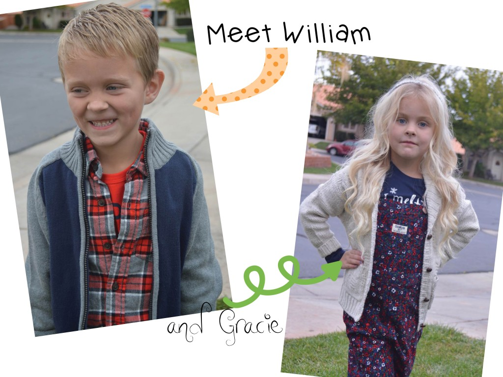 William & Gracie wearing Osh Kosh B'gosh clothes