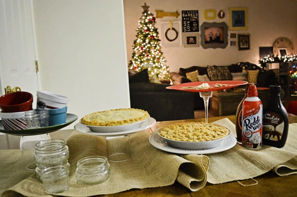 pie bar with DIY pie stands