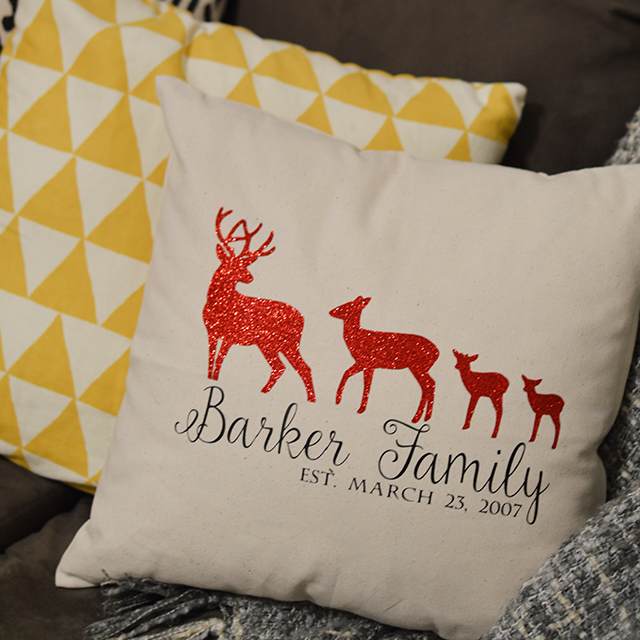 Diy Family Pillow Using Glittered Vinyl And Cricut Our