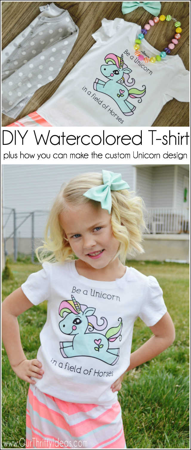 DIY Watercolored T-shirt Tutorial plus how you can make the custom Unicorn design