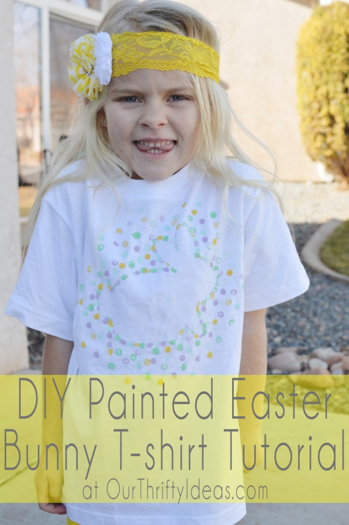 Painted easter bunny t shirt tutorial our thrifty ideas for How to paint on t shirt