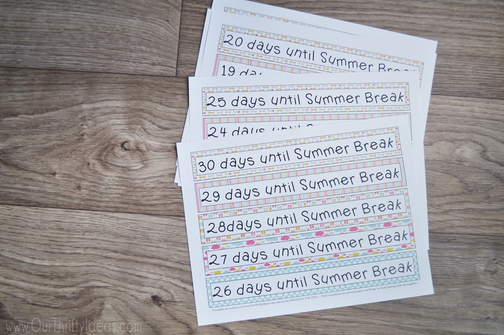 days until summer break printable