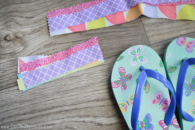 A fun tutorial on how to jazz up inexpensive flip flops with just some scrap fabric