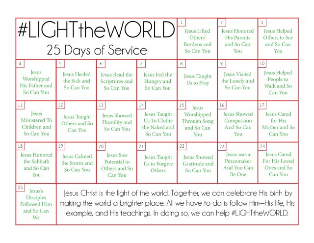 Focus on the true meaning of Christmas this holiday season with 25 days of sharing the light with Christ like examples.