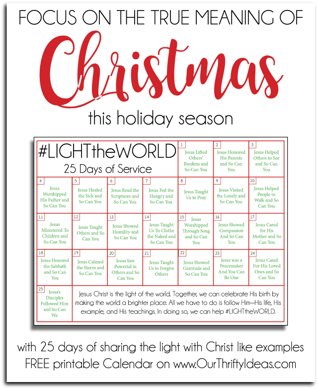 focus on the true meaning of christmas this holiday season with 25 days of sharing the light with christ like examples