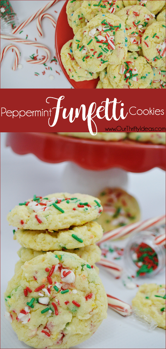 A typical cookie just won't cut it for the holidays. Make these Funfetti cookies from a box and spruce them up with a peppermint flavor added! They will be the hit of the holiday season.