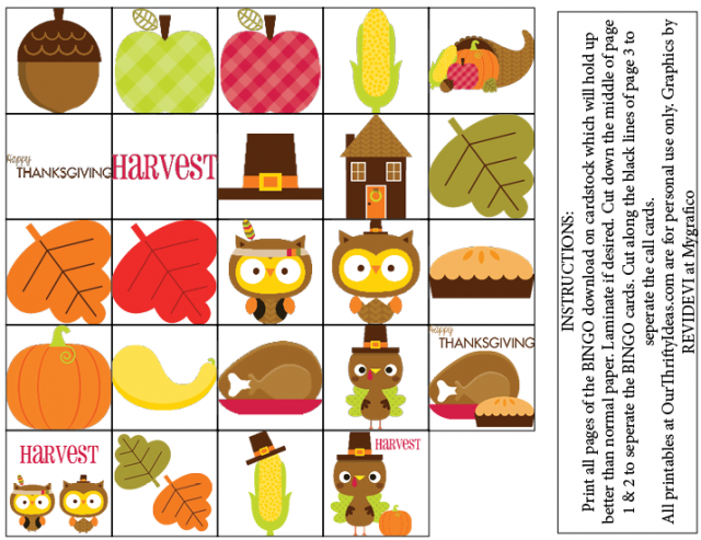 Thanksgiving BINGO Free Printable set. 4 boards and all calling cards included