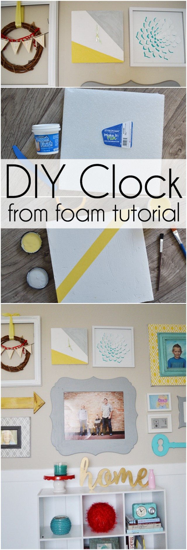 DIY Clock made from a foam block