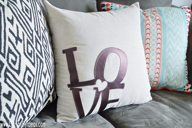 "DIY ""Love"" Throw Pillow for Valentine's Day"