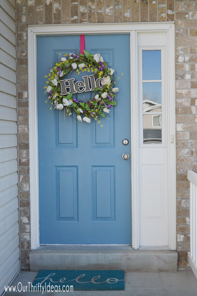 Front Door painted makeover, tips by OurThriftyIdeas.com